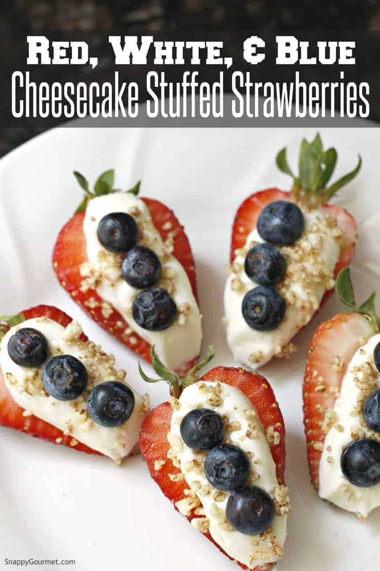 Cheesecake stuffed strawberries with blueberries on plate