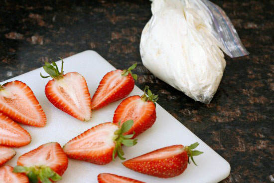 red white blue cheesecake stuffed strawberries   snappygourmet.com