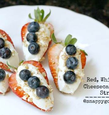 Red, White, & Blue Cheesecake Stuffed Strawberries