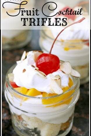 Mini Fruit Cocktail Trifles Recipe - easy dessert with fruit cocktail, cake, and pudding! SnappyGourmet.com