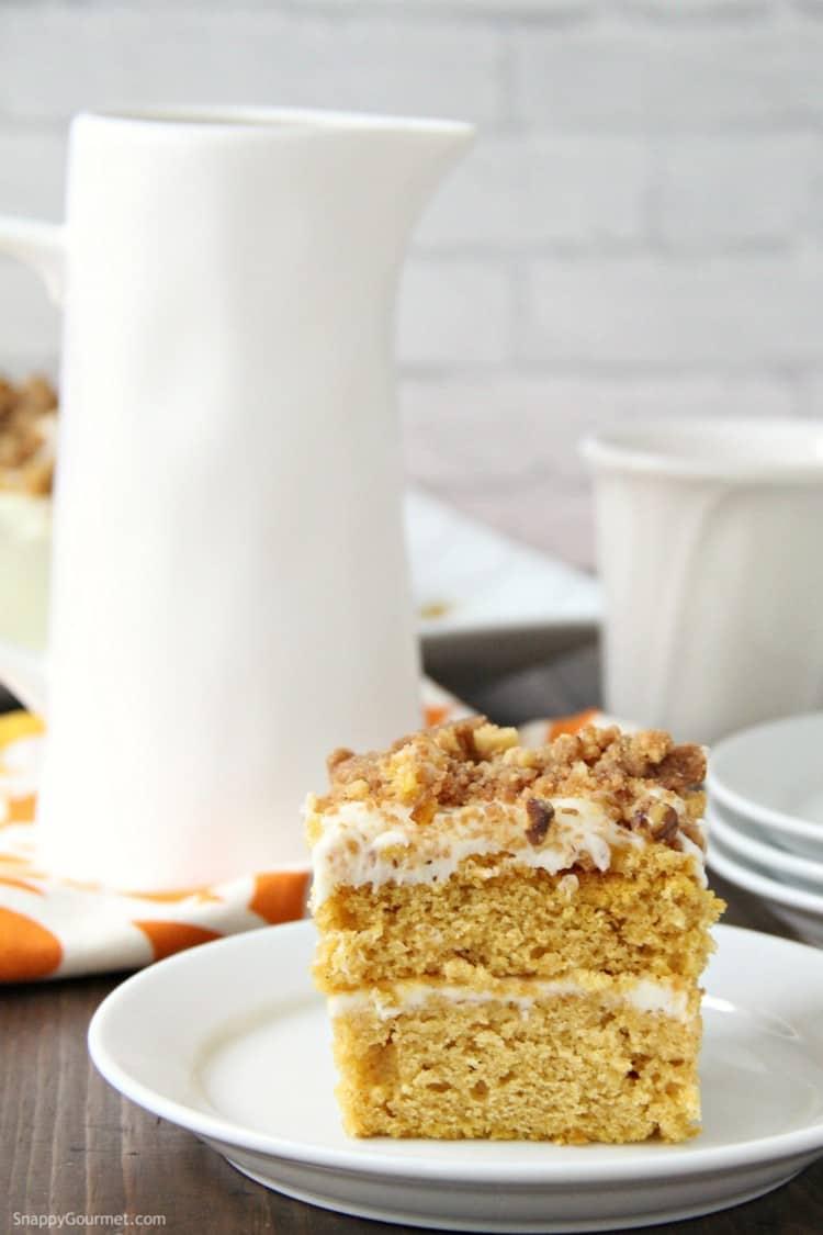 Pumpkin Crunch Cake with pitcher