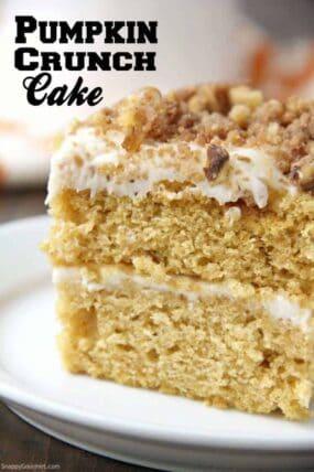 Pumpkin Crunch Cake with cream cheese frosting and crunch topping