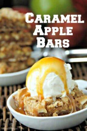 caramel apple bars with ice cream
