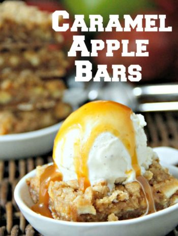 caramel apple bars with ice cream