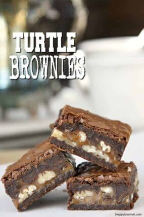 chunky gourmet turtle brownies stacked
