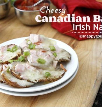 Cheesy Canadian Bacon Irish Nachos