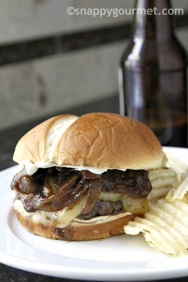 French Onion Beer Burger   snappygourmet.com