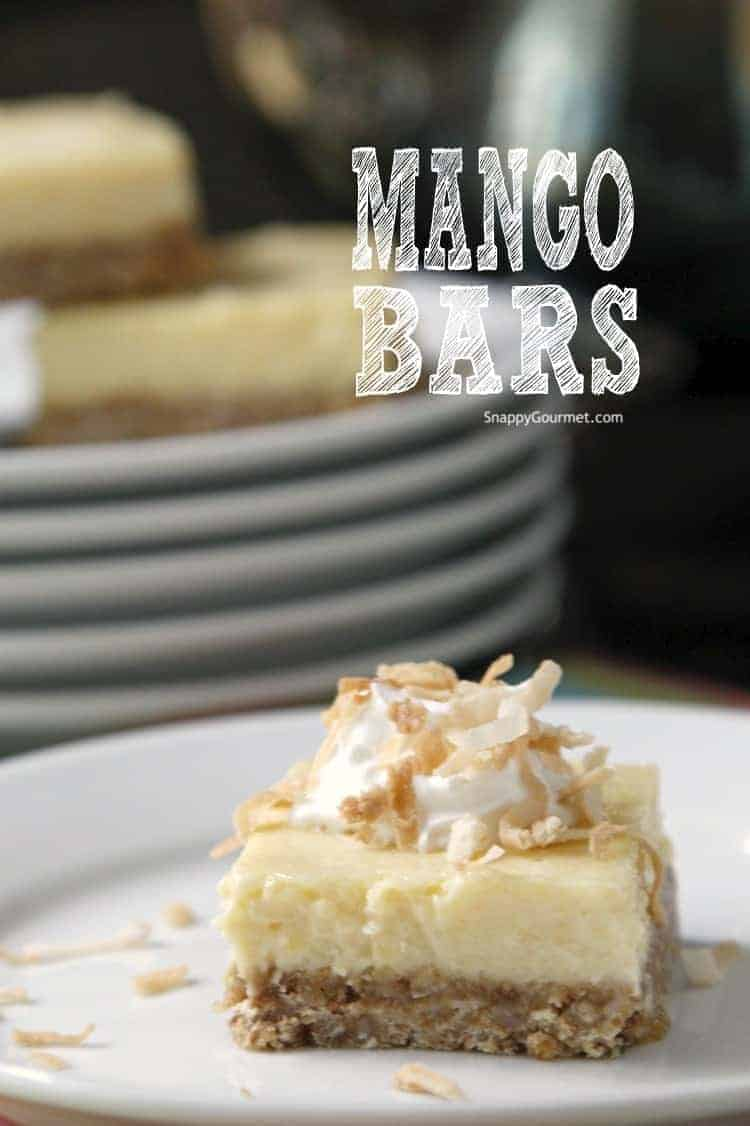 mango bars with whipped cream and coconut