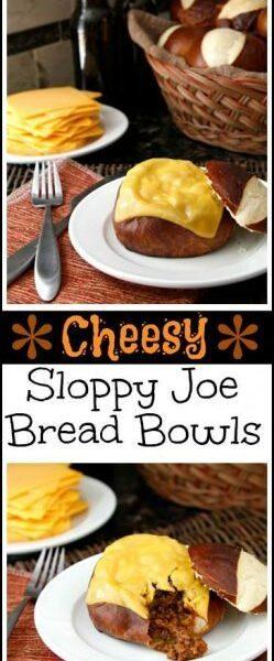 Easy Homemade Cheesy Sloppy Joe Bread Bowls Recipe   SnappyGourmet.com