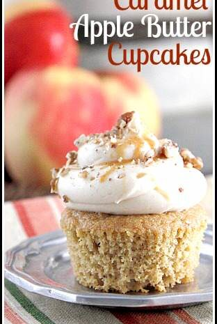 Caramel Apple Butter Cupcakes - easy homemade cupcake recipe perfect for fall! SnappyGourmet.com