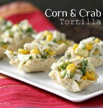 Corn and Crab Salad Tortilla Cups