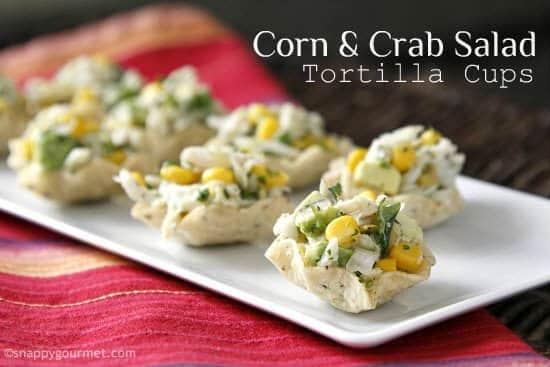 Corn and Crab Salad Tortilla Cups Appetizer Recipe | snappygourmet.com