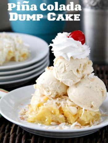 Piña Colada Dump Cake Recipe - Easy pineapple coconut cake recipe. SnappyGourmet.com