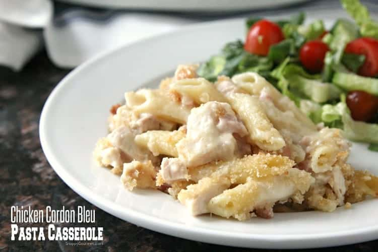 Chicken Cordon Bleu Pasta Casserole Recipe - serve with some easy sides for the best dinner