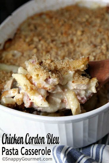Chicken Cordon Bleu Pasta Casserole Recipe An Easy Baked Pasta Casserole That Is Family Friendly