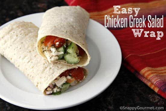 Easy Chicken Greek Salad Wrap Sandwich - quick summer sandwich recipe perfect picnic food or even a healthy school lunch! SnappyGourmet.com