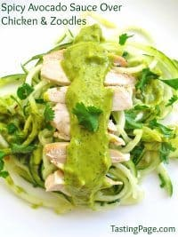 70+ Best Zucchini Recipes (Spicy Avocado Suace over Chicken and Zoodles Recipe)   SnappyGourmet.com