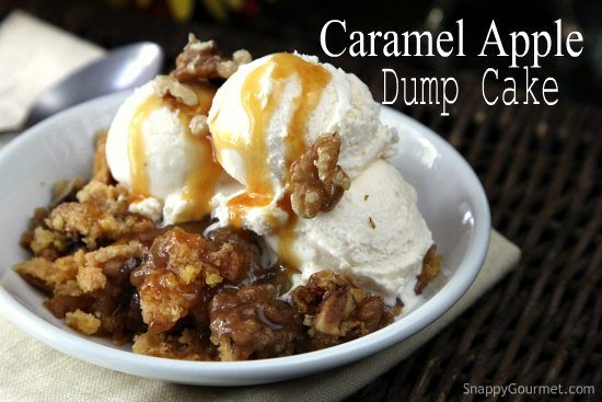 Caramel Apple Dump Cake, an easy dessert with fresh apples, caramel, and a cake mix! SnappyGourmet.com