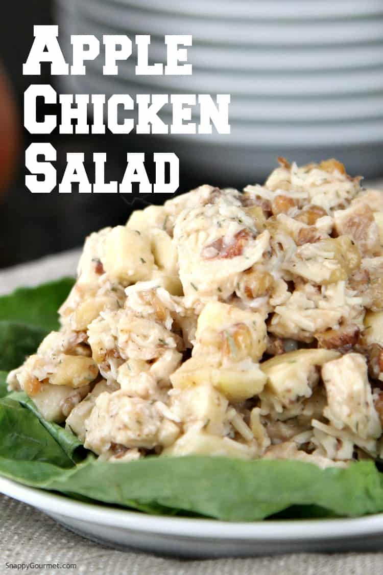 chicken salad with apples and walnuts on plate