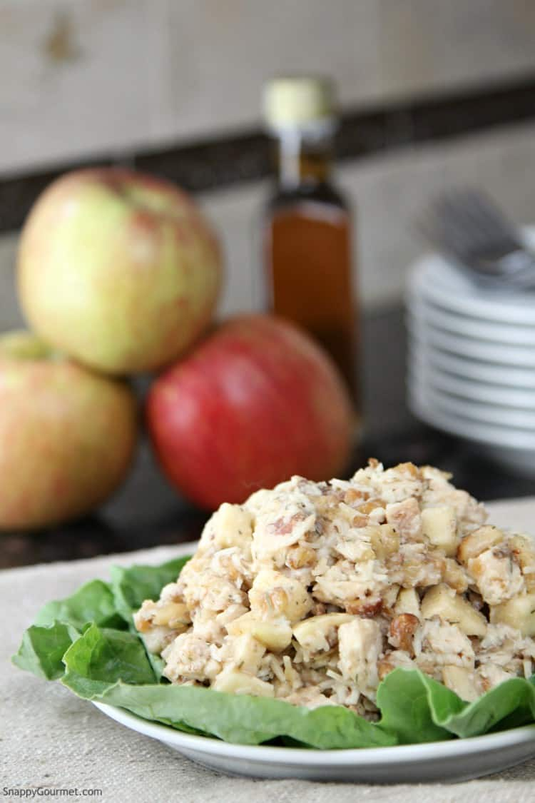 chicken salad on plate and apples and maple syrup