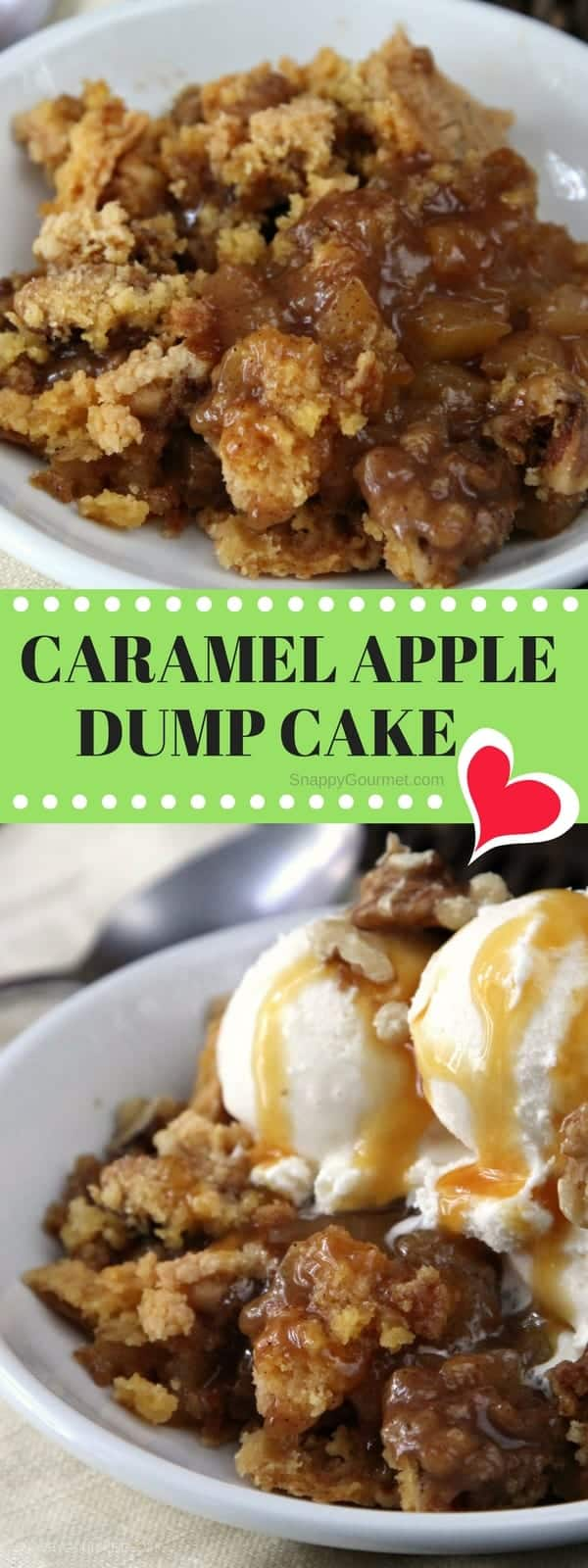 Caramel Apple Dump Cake Recipe - easy apple cake recipe with fresh apples. SnappyGourmet.com