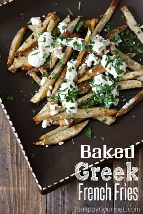 Baked Greek French Fries - easy homemade fries! SnappyGourmet.com