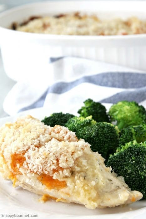 Cheesy Apricot Chicken Bake recipe - easy baked chicken casserole for the best quick dinner using boneless chicken breasts! Can also be easily made gluten-free. SnappyGourmet.com