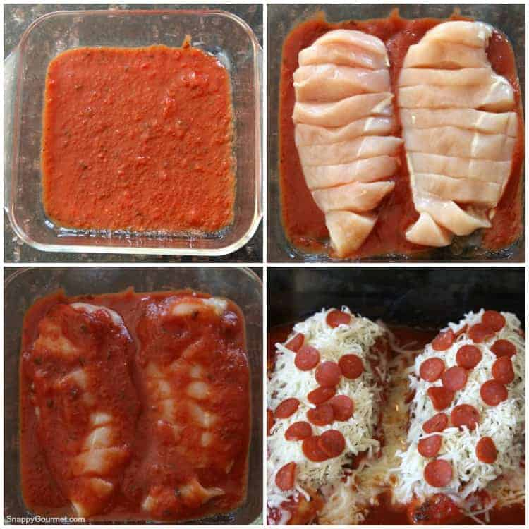 Pizza Chicken collage with sauce and raw chicken
