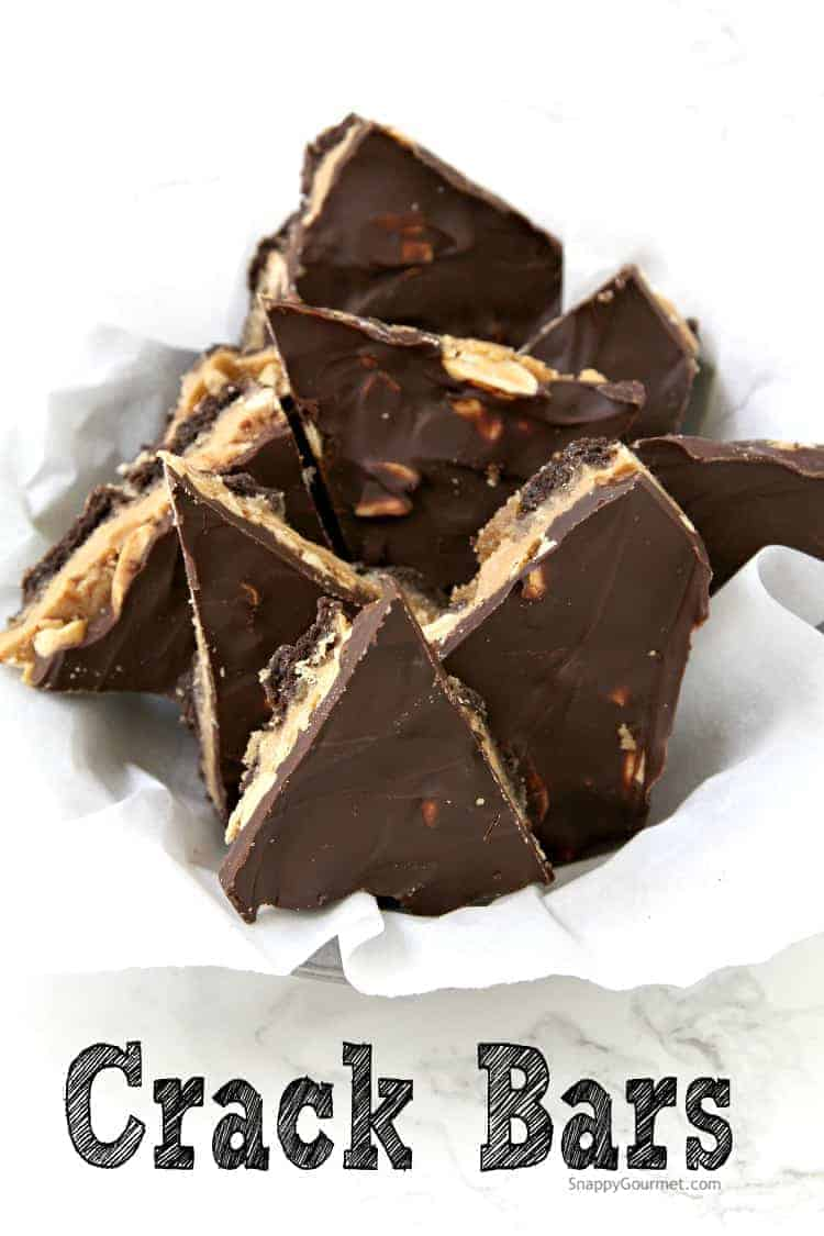 Crack Bars Recipe (Chocolate Peanut Butter Toffee Crackers) - the best graham cracker toffee recipe with chocolate and peanut butter. SnappyGourmet.com