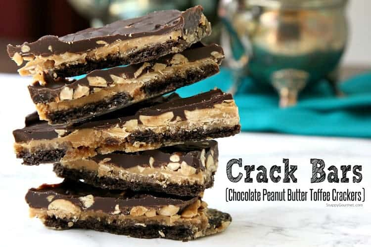 Crack Bars Recipe (Chocolate Peanut Butter Toffee Crackers) - an easy candy recipe with graham crackers like graham cracker toffee. SnappyGourmet.com