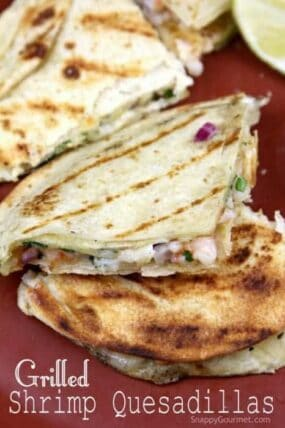 Grilled Shrimp Quesadillas Recipe - easy shrimp quesadilla for a quick dinner! SnappyGourmet.com