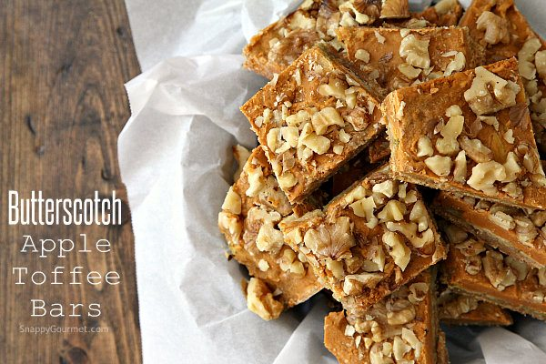 Butterscotch Apple Toffee Bars - an easy fall dessert recipe with butterscotch, apple chips, toffee, graham crackers, and walnuts | SnappyGourmet.com