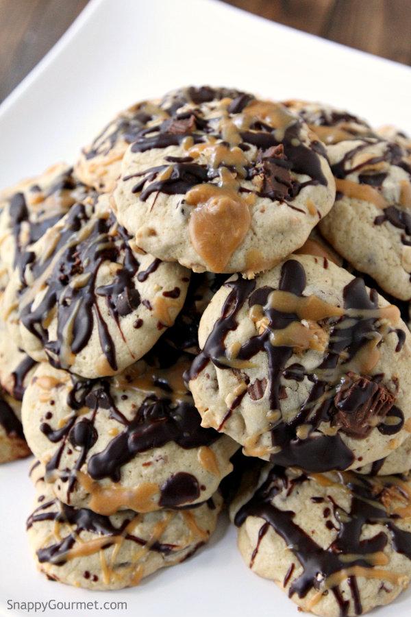 Chocolate Peanut Butter Explosion Cookies Recipe - easy chocolate and peanut butter cookie! SnappyGourmet.com