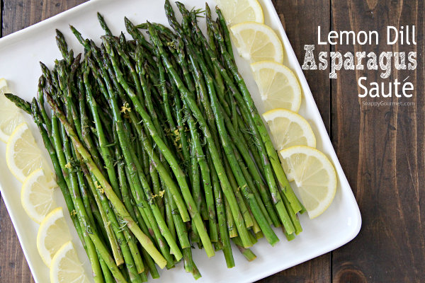 Lemon Dill Asparagus, an easy vegetable side dish recipe! SnappyGourmet.com