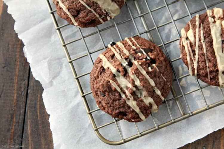 Mudslide Cookies Recipe - an easy brownie cookie with mudslide ingredients including Kahlua and Irish Cream. SnappyGourmet.com