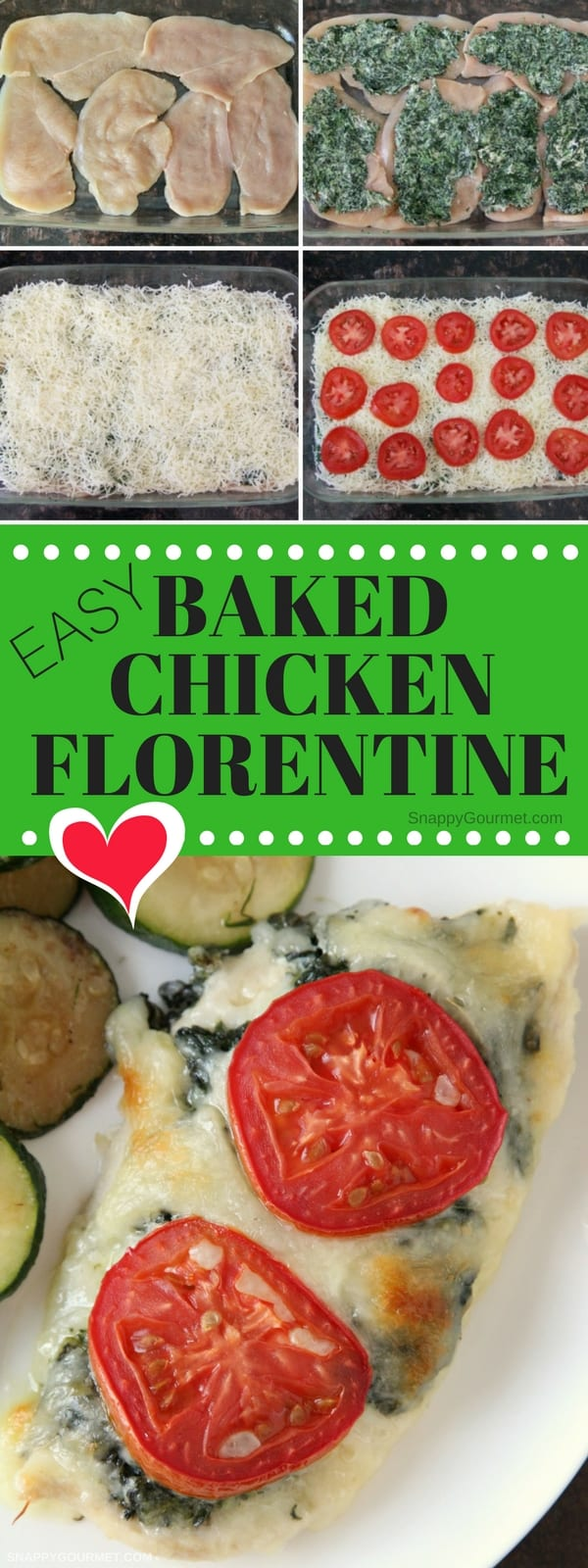 Easy Baked Chicken Florentine Recipe - low carb baked chicken recipe with boneless chicken breasts, spinach, cheese, and ranch seasoning. #Chicken #LowCarb #Spinach #SnappyGourmet