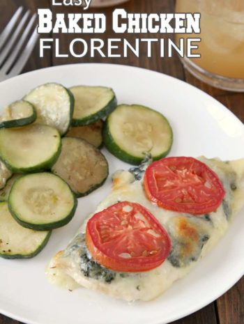 Easy Baked Chicken Florentine Recipe - easy chicken recipe with spinach. SnappyGourmet.com