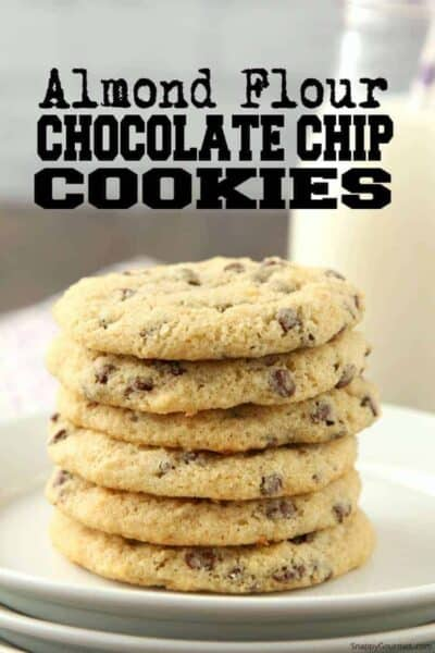 Almond Flour Chocolate Chip Cookies Recipe (stacked cookies on plate)