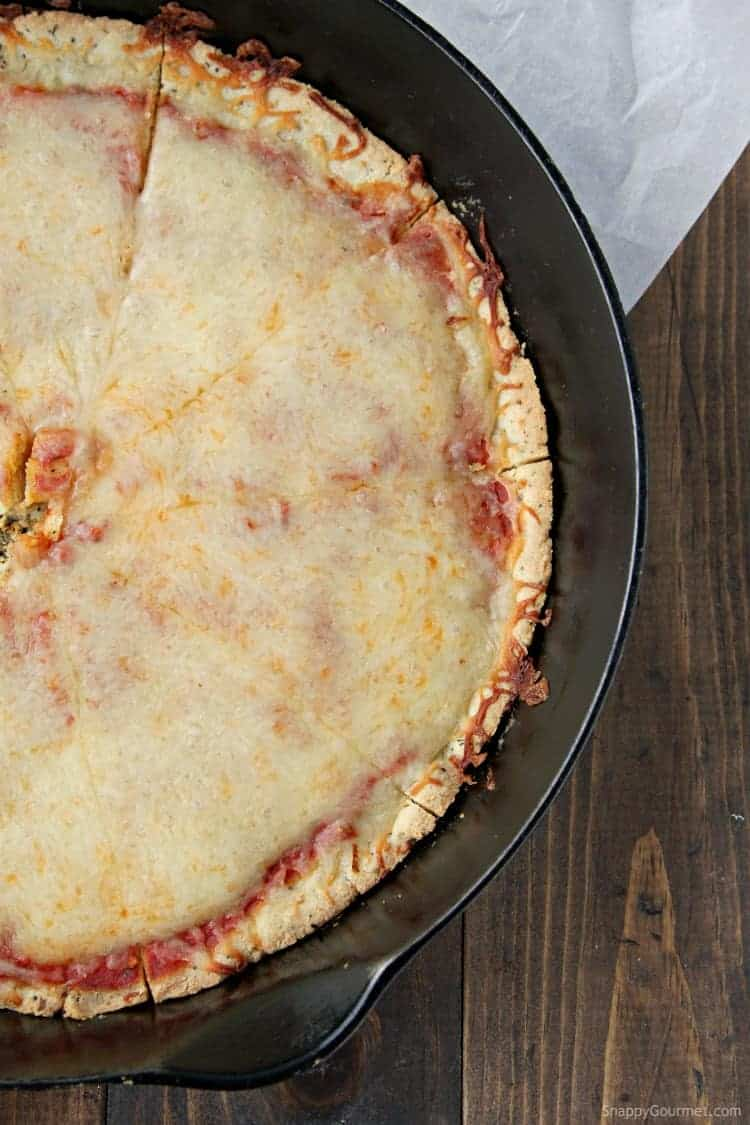 Almond Flour Pizza Crust Pizza in pan