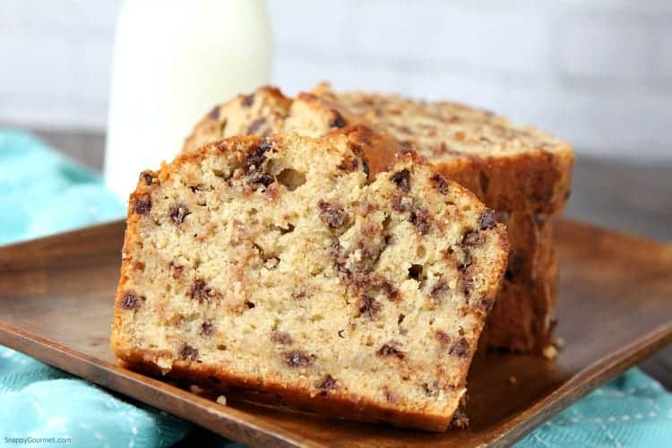 Easy Chocolate Chip Banana Bread Recipe - From scratch banana bread with chocolate chips
