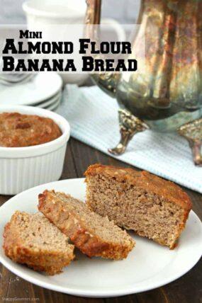 Almond Flour Banana Recipe - easy recipe for homemade mini gluten free banana bread loaves made in ramekins