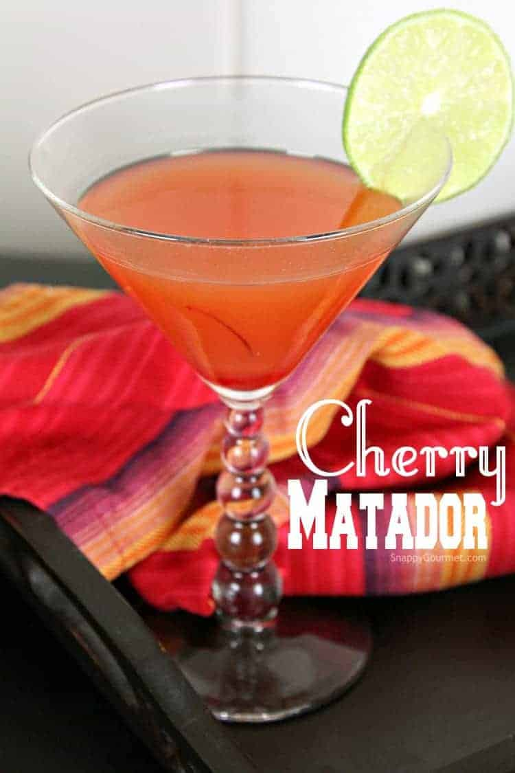 Cherry Matador Cocktail recipe - easy cherry Mexican cocktail for Cinco de Mayo. Only 4 ingredients including tequila, lime, pineapple juice, and maraschino cherry juice.