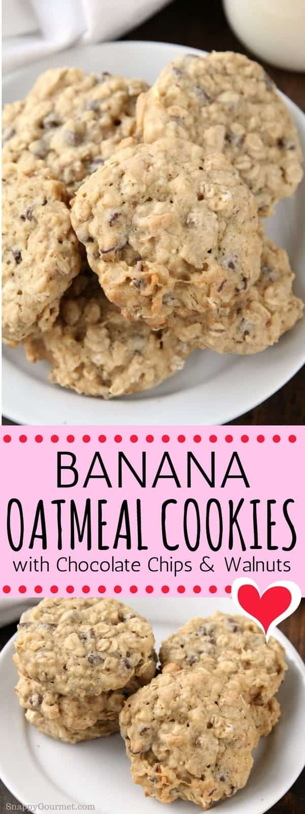 Banana Oatmeal Cookies with Chocolate Chips and Walnuts - an easy homemade oatmeal cookie recipe full of banana, oats, chocolate chips, and walnuts