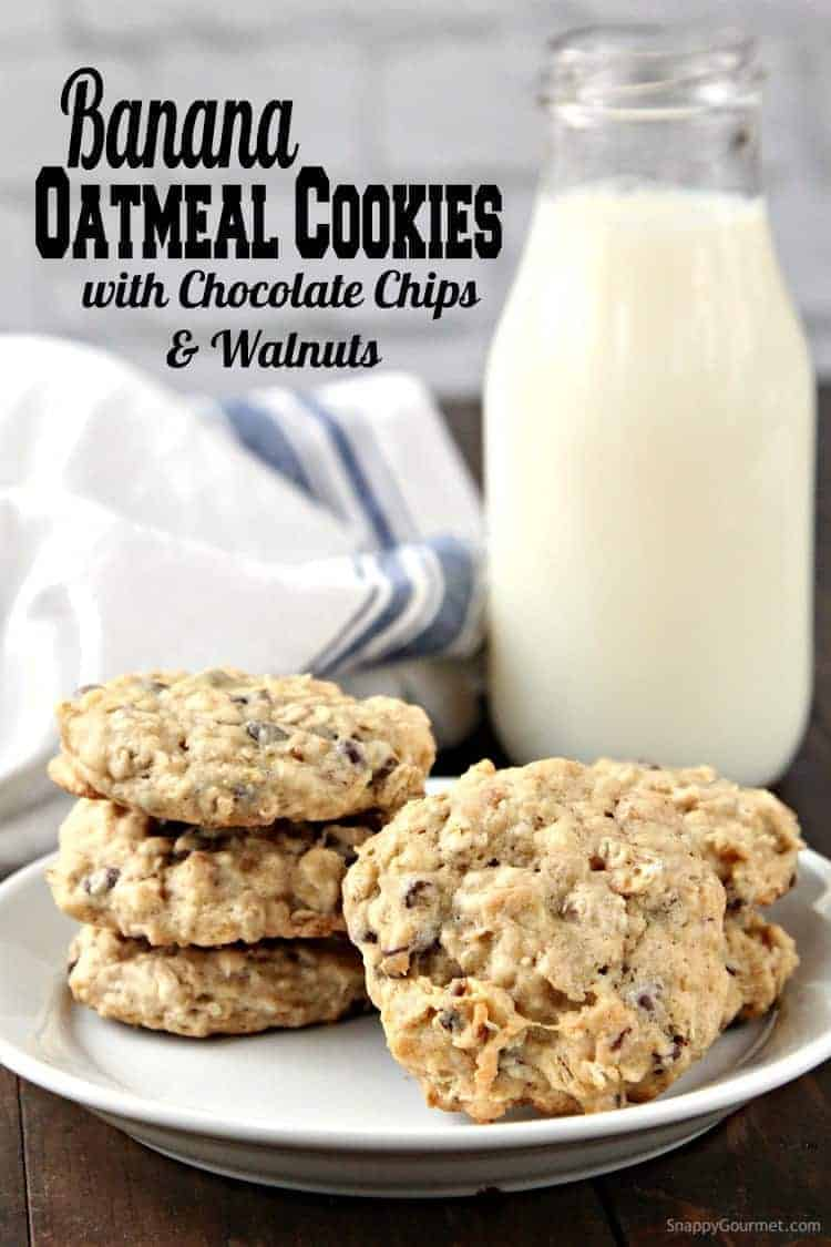 Banana Oatmeal Cookies Recipe with Chocolate Chips and Walnuts - easy chewy from scratch oatmeal cookies