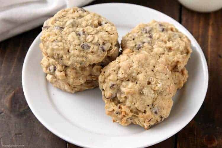 Banana Oatmeal Cookies Recipe with Chocolate Chips and Walnuts - homemade chocolate chip cookies with oats, banana, and walnuts