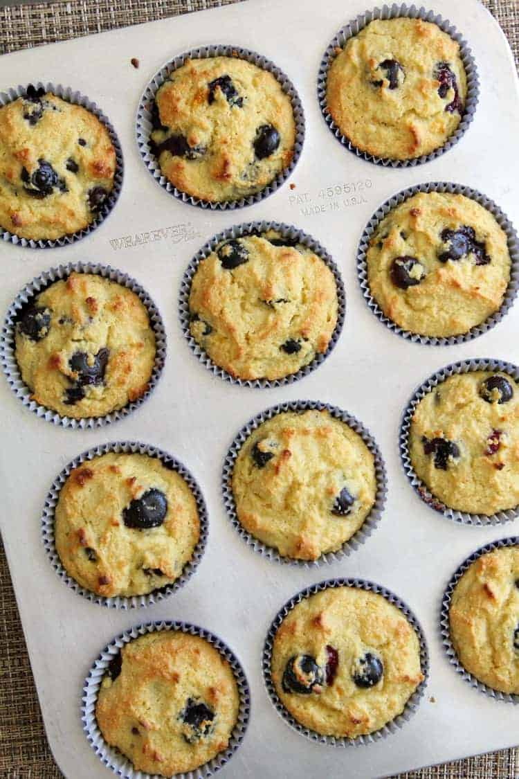 Almond Flour Blueberry Muffins Recipe - blueberry muffins after baking