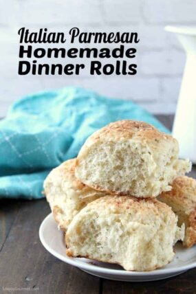Homemade Dinner Rolls - soft and fluffy roll recipe with Italian seasoning and Parmesan cheese