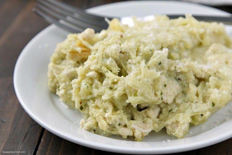 Pesto Alfredo Spaghetti Squash Casserole Recipe - low carb Italian casserole with chicken, alfredo sauce, pesto, and spaghetti squash