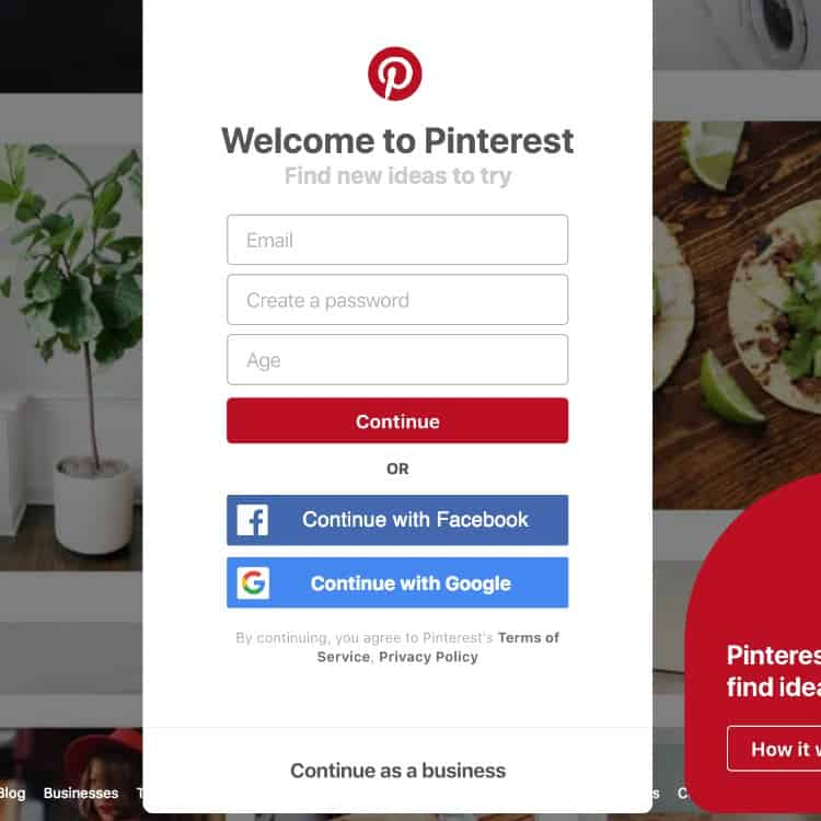 Pinterest Everything: Creating an account on Pinterest