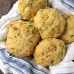 Homemade Cheddar, Chive, and Sausage Biscuits - simple biscuit recipe for homemade drop biscuits